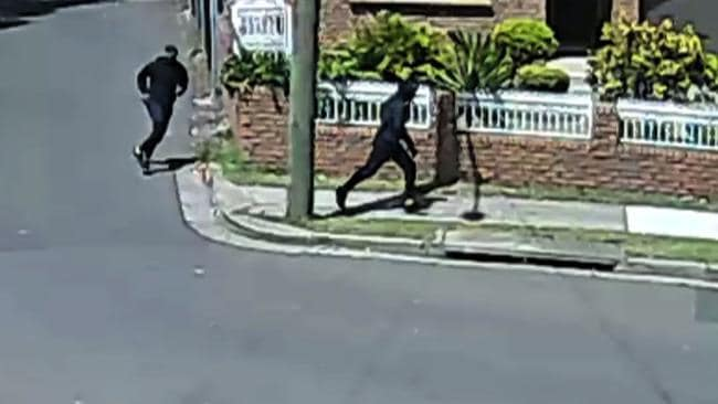 CCTV images of two men fleeing from the murder scene on Thursday. Source: NSW Police.