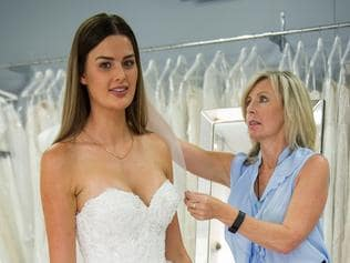 Married at First Sight, Channel 9, season 4 Cheryl tries on wedding frocks