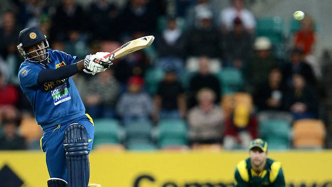 Angelo Mathews hits out for Sri Lanka. Picture: Dan Himbrechts