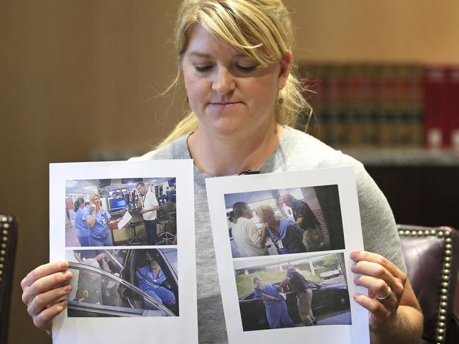 Nurse Wubbels shows screenshots from the video of her dramatic arrest. Picture: Rick Bowmer