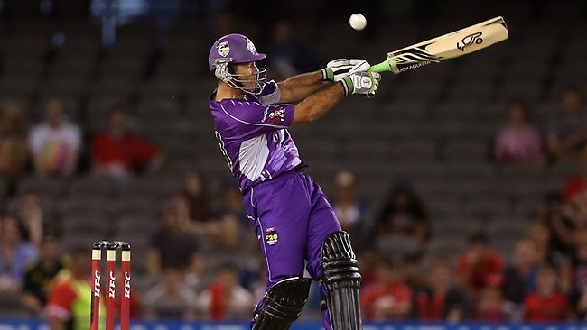 Ricky Ponting of the Hurricanes top edges a pull for four during the Big Bash League T20 cricket match between the Melbourne Renegades and the Hobart Hurricanes played at Etihad Stadium. Picture: Blair Hamish