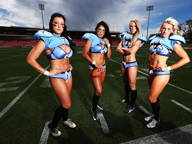 From left to right, Waiata Hewitt, Monique Gaxiola, Kayla Mulvogue and Amanda Janes from the NSW Surge LFL team.