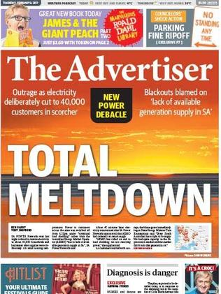 The Advertiser's front page for February 9, 2017