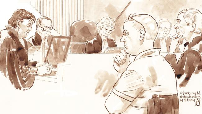 The 'horror dentist' ... A court sketch depicts Van Nierop in a court in Amsterdam.