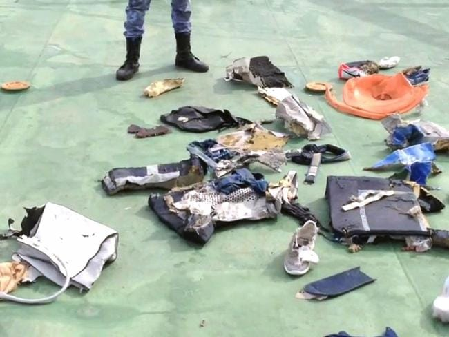 Debris found by search teams. Picture: AFP