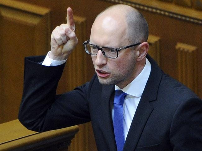 Ukrainian prime minister Arseniy Yatsenyuk has resigned. Picture: AFP Photo/Prime Minister Press Service/Andrew Kravchenko