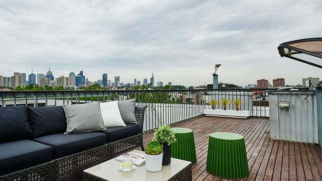The private roof terrace of Luxico - The Grand Loft in Fitzroy is a great place to see in the New Year. Picture: Stayz