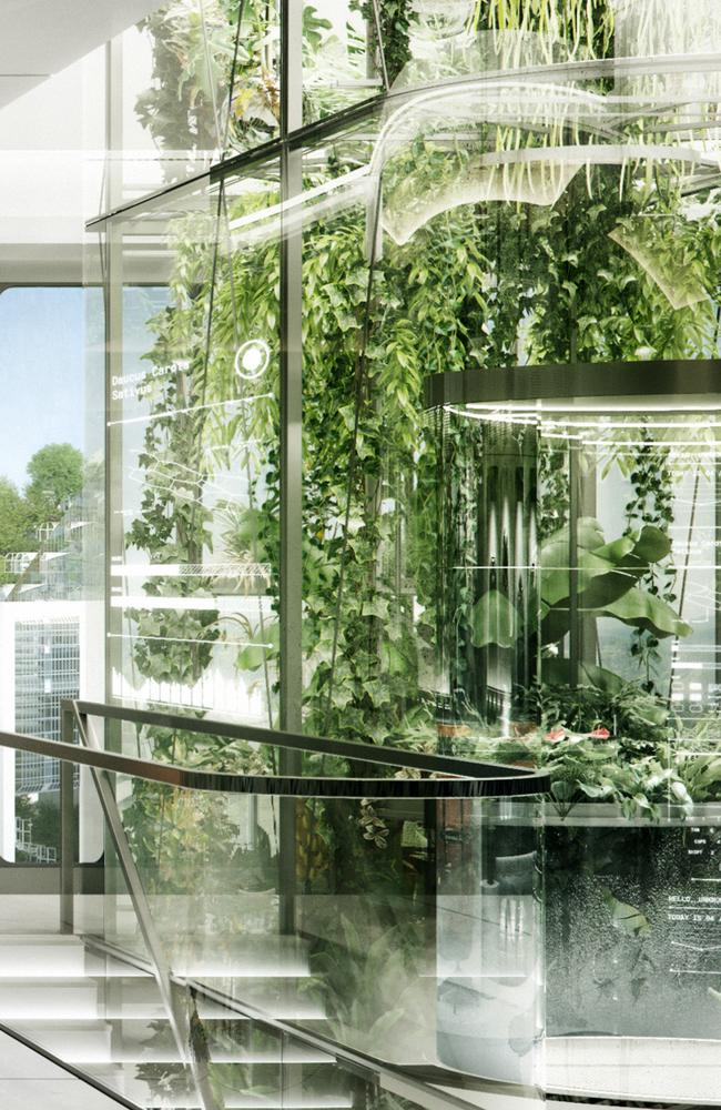 Buildings of the future will have indoor greenhouses.