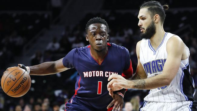 Pistons guard Reggie Jackson drives against the Magic.
