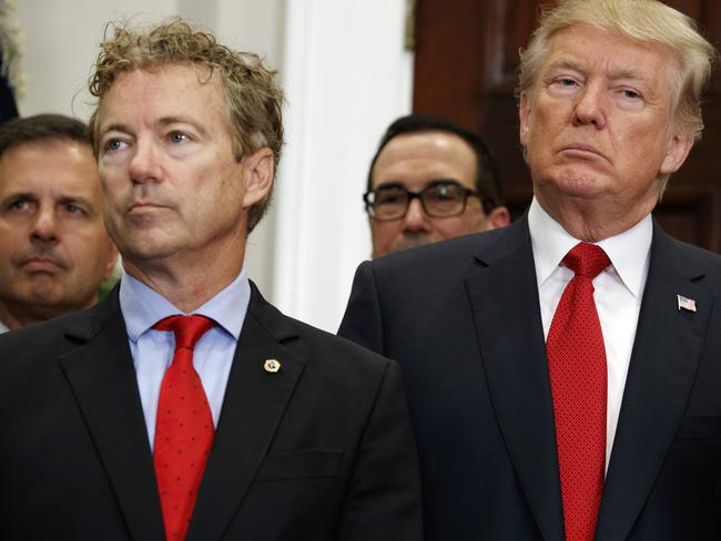 US President Donald Trump and Republican Senator Rand Paul have fought on healthcare. Picture: AP