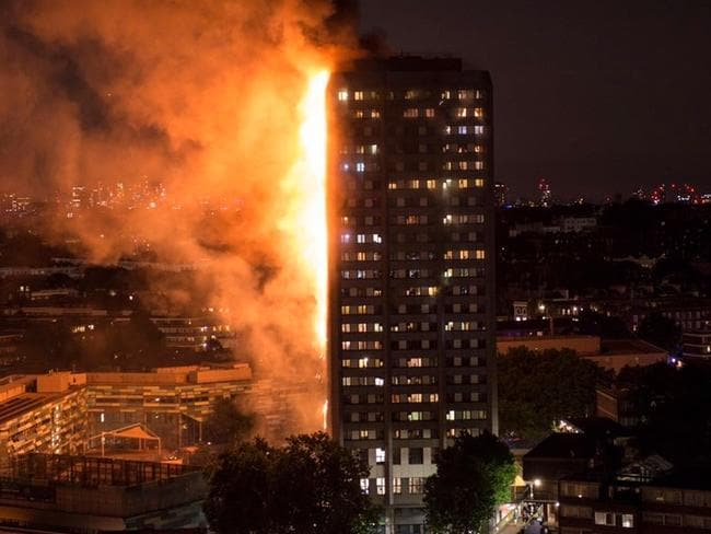 West London's Grenfell Tower is a beacon of despair. Picture: @kafianoor/Twitter