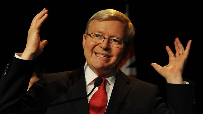 Kevin Rudd concedes defeat in Brisbane. Picture: AFP