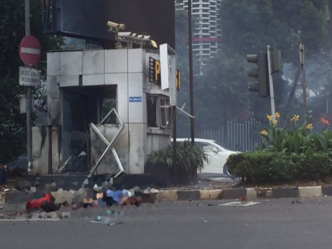"Terrorst attack ... ISIS has claimed responsibility for the Jakarta attacks, saying it targeted foreigners from the ""crusader alliance"". Picture: Supplied."