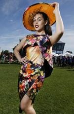 2015 Melbourne Cup Day at Flemington Racecourse. Myer Fashion in the Field. Vanessa Skrypczak of Melbourne wearing Peta Schaefer couture. Picture: David Caird.