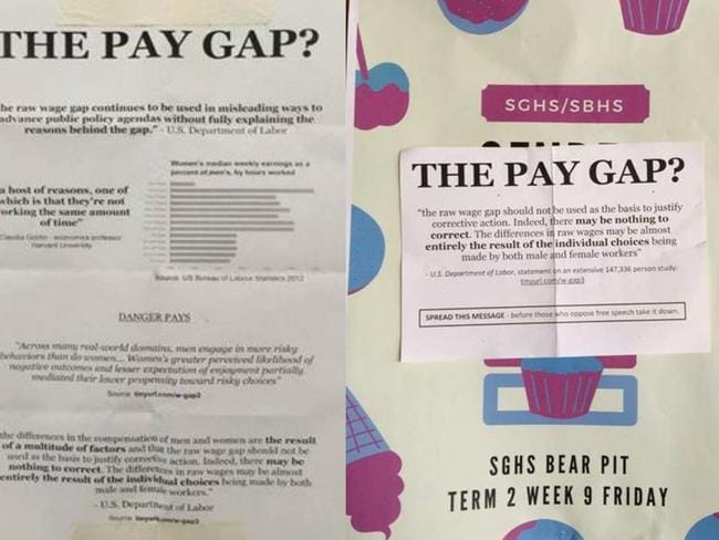 The boys put up posters rubbishing the gender pay gap over the bake sale posters.