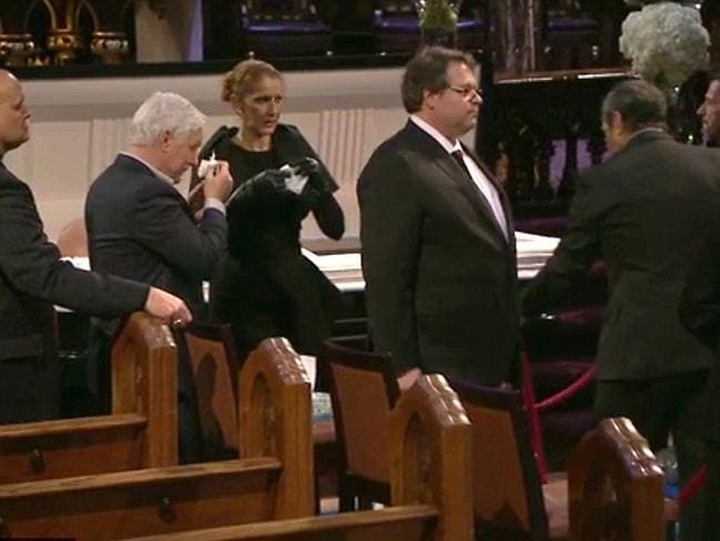 Stoic ... Celine Dion mourned her husband with fans and politicians alike at an open casket visitation in Montreal. Picture: Global News