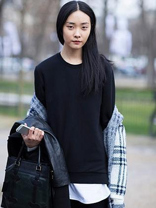 This is how it's done: A model in Paris shows off her normcore style.