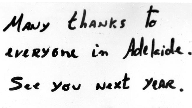 A signed note to the people of Adelaide ...