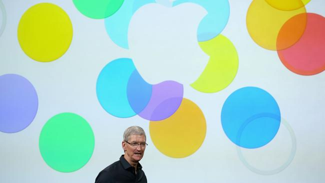 Apple CEO Tim Cook speaks on stage during an Apple product announcement at the Apple campus on September 10, 2013 in Cupertino, California. Picture: AFP