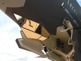 Eye in the sky ... The reflective coating of the F-35's EOTS sensor.