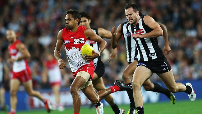 Sydney's Lewis Jetta burns off his Collingwood opponents to kick an amazing running goal last weekend. Picture: Phil Hillyard