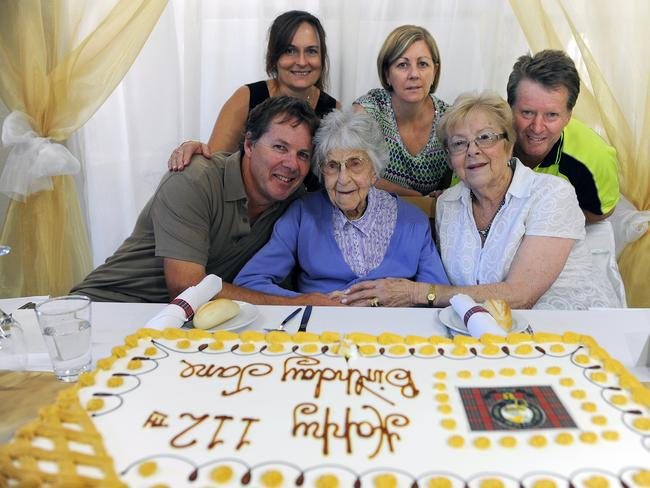 Jane Gray with family members on her 112th birthday in December last year / Picture: Melvyn Knipe