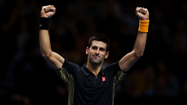 Novak Djokovic celebrates match point after getting rid of Tomas Berdych at the ATP World Tour Finals in London, England.