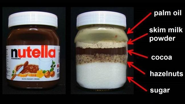 What's really in a jar of Nutella may shock you. Picture: Reddit