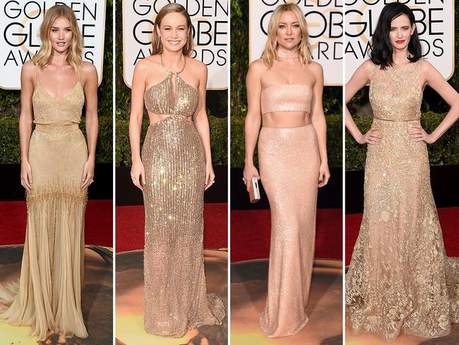 Nude shades ... Rosie Huntington-Whiteley, Brie Larson, Kate Hudson and Eva Green. Picture: Getty