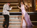 James Corden greets recording artist-actor Jennifer Lopez onstage during The 59th GRAMMY Awards at STAPLES Center on February 12, 2017 in Los Angeles, California. Picture: Getty