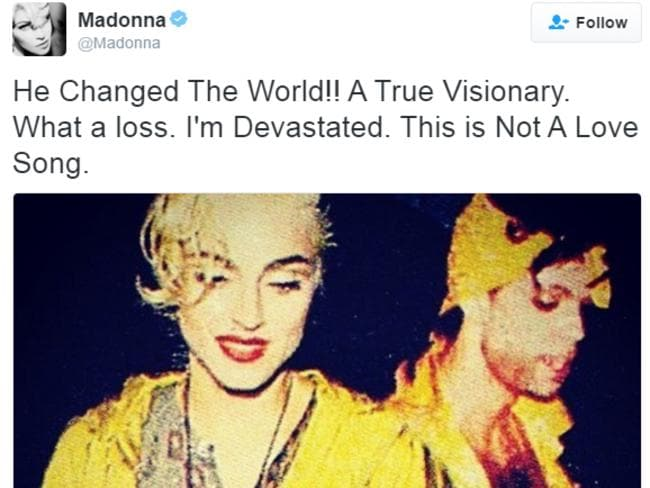 Madonna paid tribute to Prince in the wake of his death.