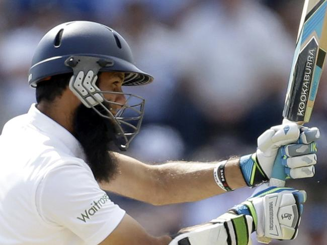 England's Moeen Ali hits a shot during the second day of the third cricket test match of the series. Picture: Matt Dunham