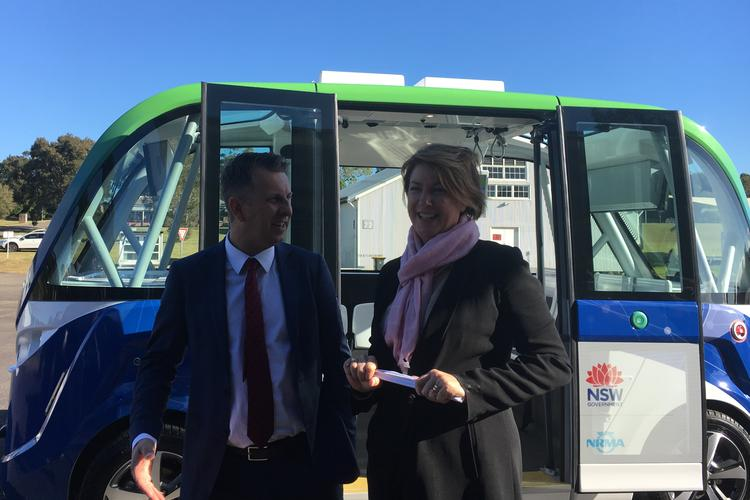 NSW Transport Minister Andrew Constance and Roads Minister Melinda Pavey for the launch of the first trial of a driverless bus in NSW.