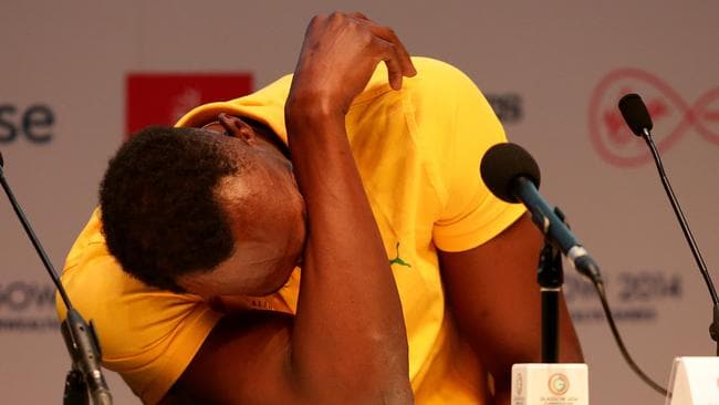 Usain Bolt has a laugh at his Glasgow press conference on Saturday.