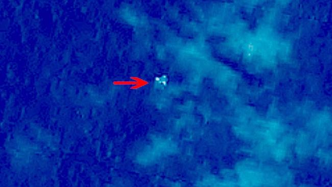 This image, first released by CCTV America, shows an object in the ocean spotted by Chinese satellites on Sunday.