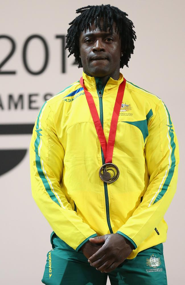 Francois Etoundi grabbed bronze in the men's weightlifting 77kg category.