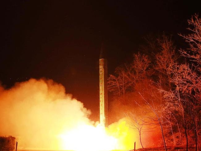 North Korean leader Kim Jong-un has ordered further nuclear tests, according to state media in March as military tensions surge on the Korean peninsula. Picture: AFP/KCNA/KNS