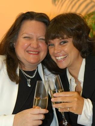 Before the split: Bianca and her mother Gina Hancock have fallen out over the family fortune since this 2005 photograph. Picture: Theo Fakos.