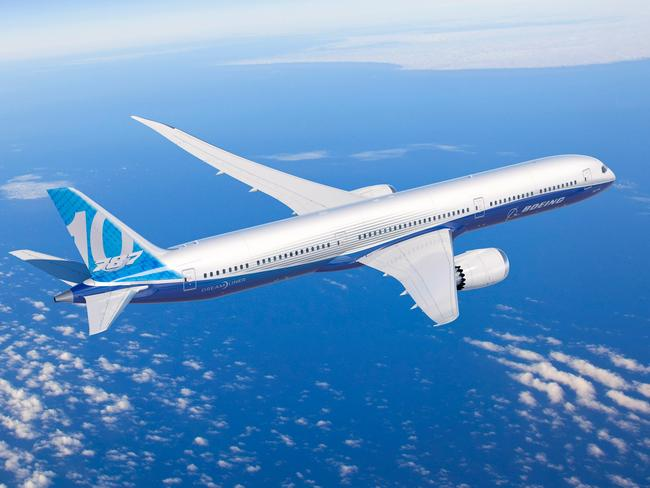 Boeing's 787-10 Dreamliner. Longer and with more seating and cargo capacity than a 787-9 but just as fuel efficient. Picture: Boeing