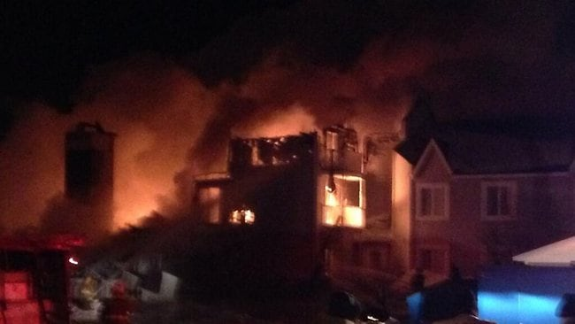 A fire in Quebec that has killed at least three people. Picture: Twitter/Jasmin Dumas.