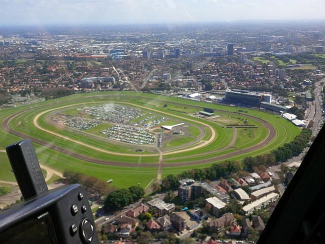 Aerial shot of the action central ... Randwick racecourse.