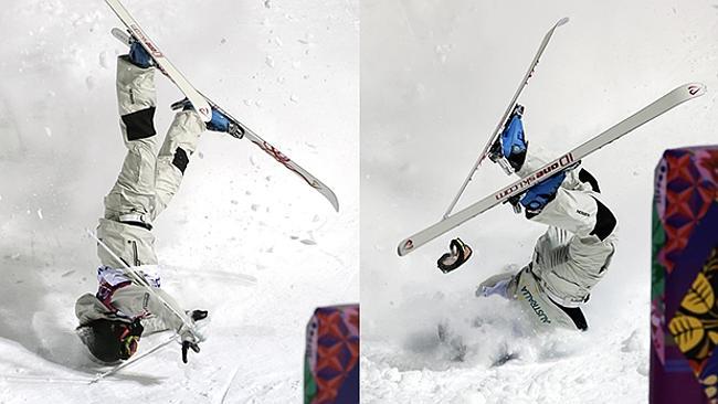 Australia's Nicole Parks crashes at the finish of the moguls slope during a training session at the Rosa Khutor Extreme Park.