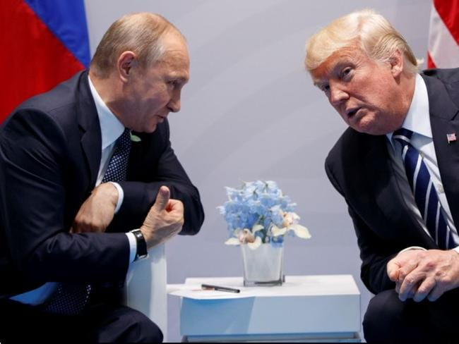In this July 7, 2017 file photo, President Donald Trump meets with Russian President Vladimir Putin at the G20 Summit in Hamburg. Picture: AP