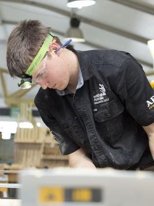 Ryan Grieger flaunted his winning carpentry skills. Picture: WorldSkills International