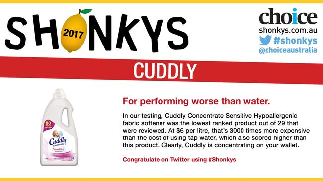 Cuddly earned a lemon for its performance with this product. Picture: Choice