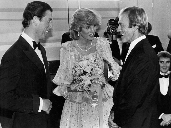 Charles and Diana meet Paul Hogan at the Melbourne Concert Hall during the 1983 tour.
