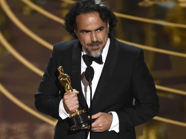 Alejandro González Iñárrituhas accepts the Best Director Oscar for The Revenant.