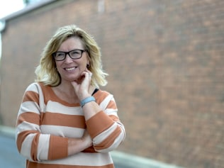 SOMERVILLE,AUSTRALIA -12 APRIL 2017: Photo of Rosie Batty, an Australian domestic violence campaigner and the 2015 Australian of the Year recipient, outside the NAB branch in Somerville on Wednesday 12 April 2017. PHOTO LUIS ENRIQUE ASCUI