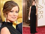 Olivia Wilde in a black Valentino dress on the red carpet at the Oscars 2014. Picture: Getty
