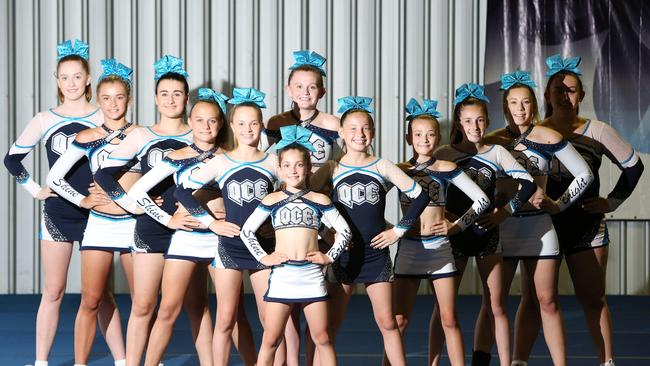 Cheerleaders from Queensland Cheer Elite. Picture: Elise Searson